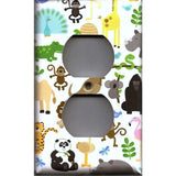 Wall Outlet Cover in Zoo Jungle Animals Nursery Decor Handmade- Simply Chic Gal