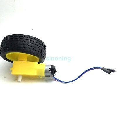 DC Motor Robot Gear Motor TT & Wheel Tire with Dupont Male Plug for Arduino