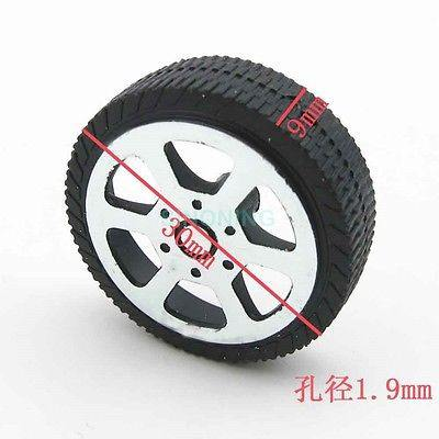 1000pics Plastic toy car wheels DIY 30*9*1.9mm wheel 30mm for 2mm axle 1k - SINONING