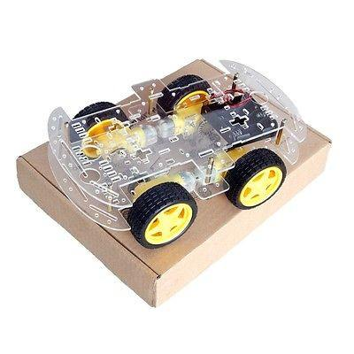 4WD Smart Robot Car 2 Layer Chassis Kit Speed Encoder Battery Box For Arduino