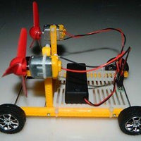 Diy Wind Power 2 airscrew assembling electric toy car handmade model wind driven