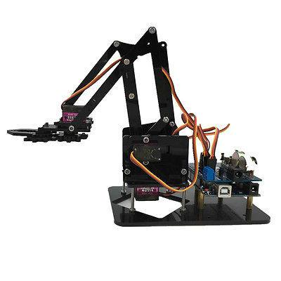 Arduino Economy 4DOF Acrylic Robot Arm Education Kit Mechanical grab Manipulator Free Shipping