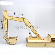 Wooden hydraulic excavator model handmade scientific experiments steam