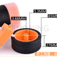 DIY intelligent toy car accessories wheel model rubber wheel TT motor tire 65*27mm