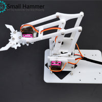 4 degrees of freedom acrylic assembled robotic arm white mg90s robot arduino DIY maker learning kit