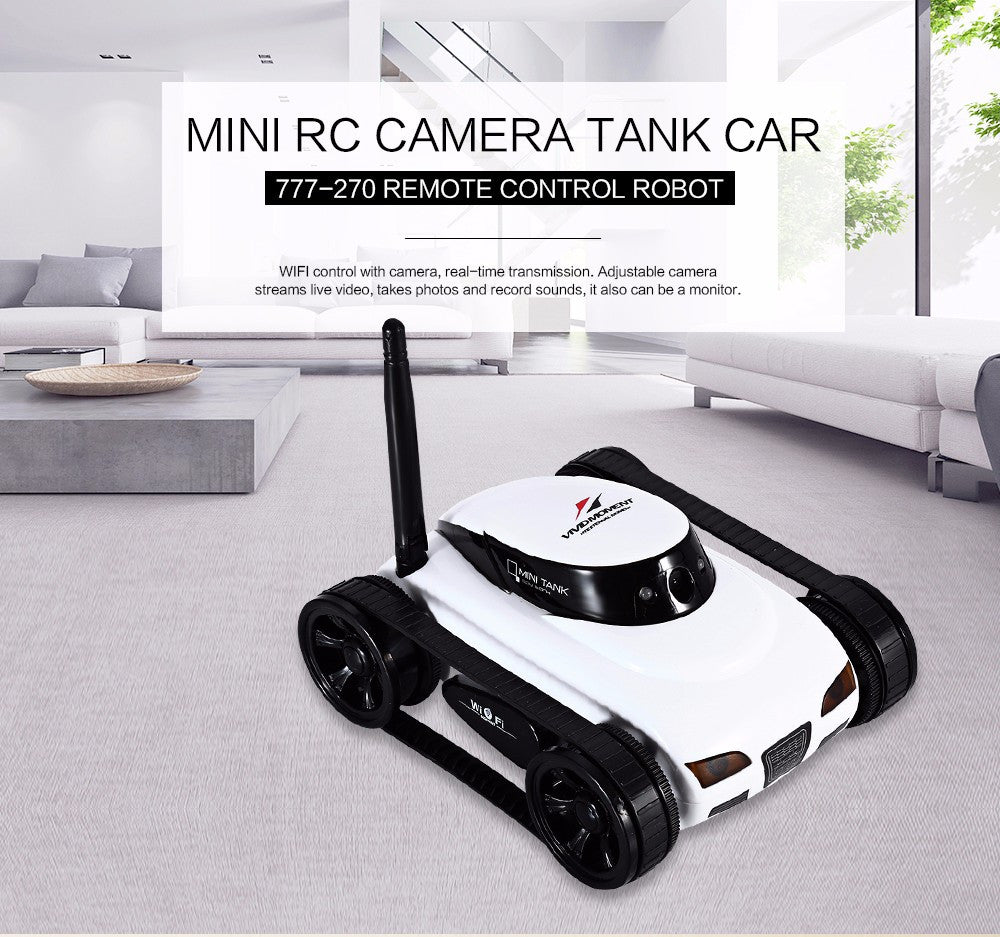 Wifi Mini Rc Camera Tank Car Ispy With Video 0 3mp Camera 777 270 Remote Control Robot With 4ch Suppots By Iphone Android App