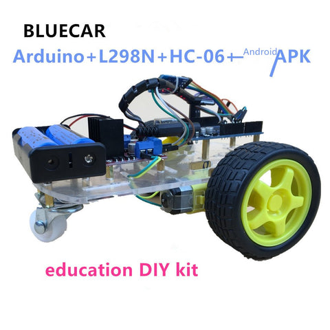 BLUE CAR Arduino uno+L298N+hc-06+Android APK DIY KIT for Maker