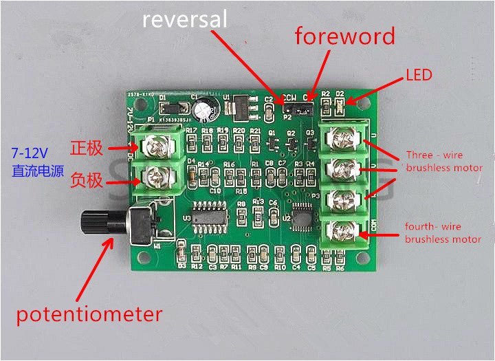 DC brushless motor drive board speed control  controller 7V-12V SNA40