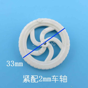 plastic White wheel tire for car toy 33mm diameter hole 2mm diy toy SN42