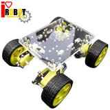 Rotoup 4WD Smart Robot Chassis acrylic Kit Avoidance robot Platform chasis Motor car Wheels Speed Encoder for Arduino #RBP010