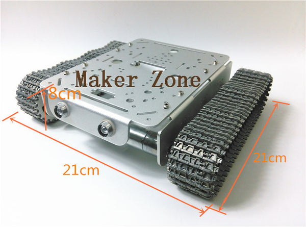T200 -MT Sivler All metal Tank,Aluminum tank chassis with robotic arm interface with speed detectionencoder,for Smart car,robot