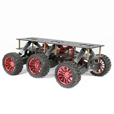 6WD Metal Robot Cross-country Chassis DIY Platform for Arduino robot WIFI Car Off-road Climbing Raspberry Pi color black