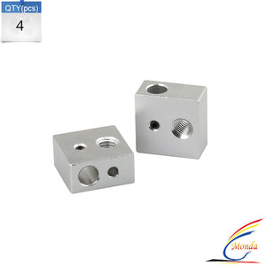 4PCS Aluminum Heater Block M6 Specialized for MK7 MK8 Makerbot 3D Printer Extruder 3D Printer Parts For Anet A6 And A8