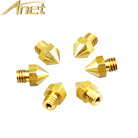 Anet Extruder Nozzle 5PCS 0.2/0.3/0.4/0.5/0.6mm mixed Diameter Print Head For 1.75MM MK8 Extruder Makerbot Ultimaker 3D Printer