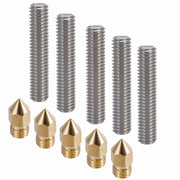 Anet A6 5pcs 40MM Length Extruder 1.75mm Tube,5pcs 0.4mm Brass Extruder Nozzle Print Heads for MK8 Makerbot Reprap 3D Printers