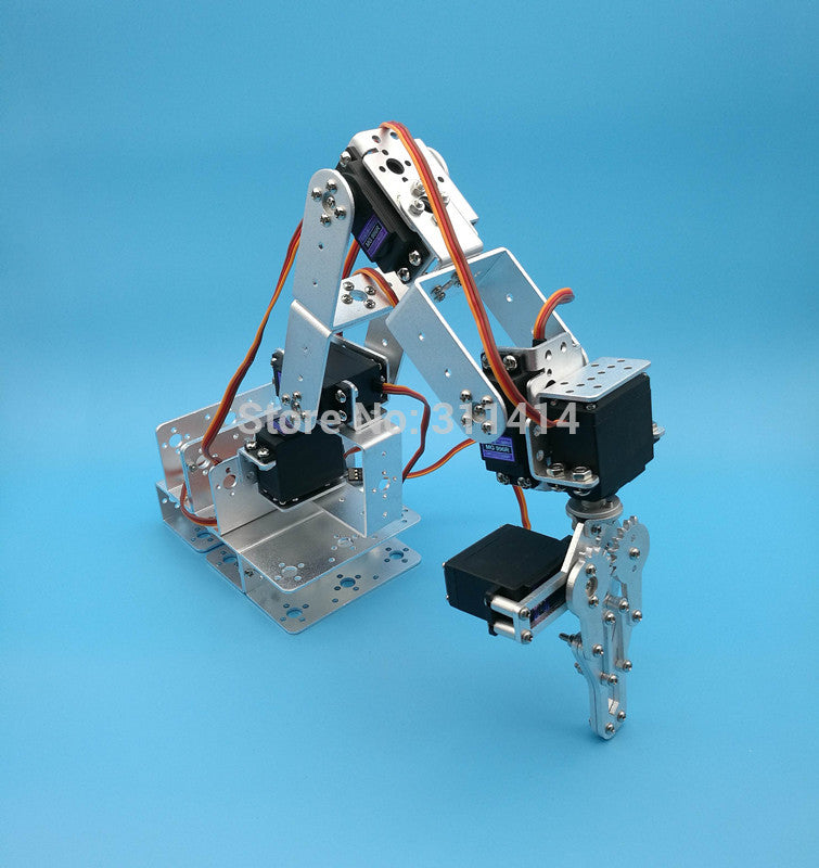 1set 6 Dof Robot Arm Mechanical Claw Large Metal Base For Educational Project Diy Arduino Robotic Parts