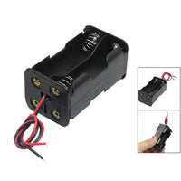 Black Tow Layers 4 x 1.5V AA Batteries Battery Holder Case Box w Wire Leads AD