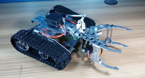 Metal Aluminum alloy Smart metal tank robot Chassis with manipulator