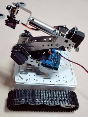 Aluminum Alloy Metal Tank with 6 dof long mechanical arm robot with servo