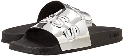 Hugo Boss mens Slide Sandal, Silver,