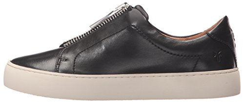 FRYE Women's Lena Zip Low Fashion Sneaker, Black Polished Soft Full Grain