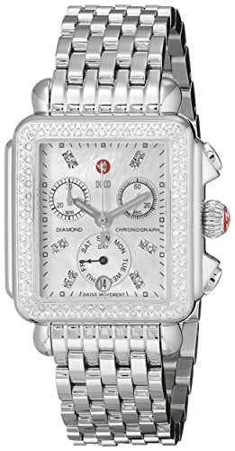 MICHELE Women's MWW06P000099 Deco Analog Display Swiss Quartz Silver Watch