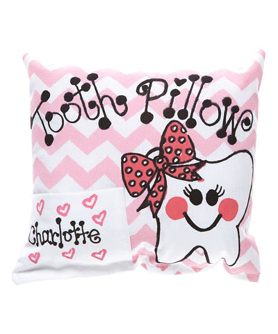 Girly Chevron Tooth Pillow in Pink with Personalization