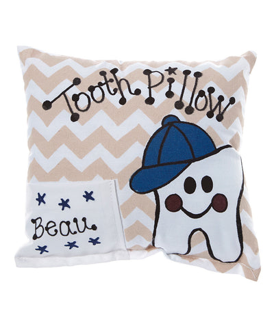 Boy Chevron Tooth Pillow in Tan with Personalization