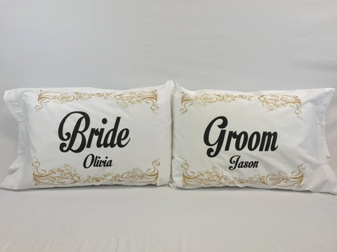Bride and Groom Standard Pillowcase Set with Personalization
