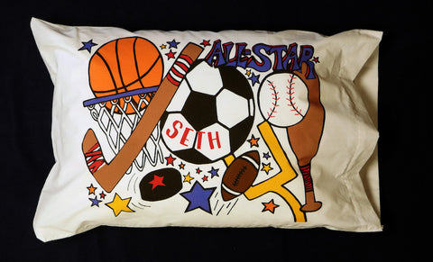 Sports Standard Pillowcase with Personalization