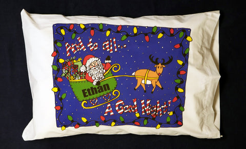 Whimsy Christmas Sleigh Standard Pillowcase with Personalization