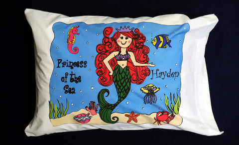 Girl Mermaid Standard Pillowcase with Personalization