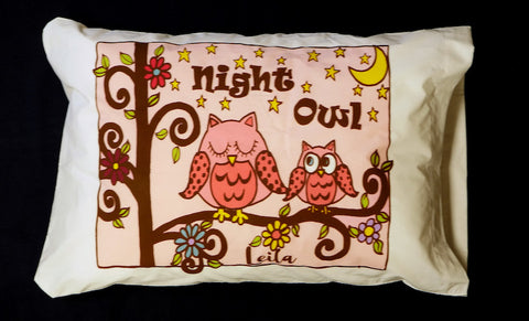 Pink Owl Standard Pillowcase with Personalization