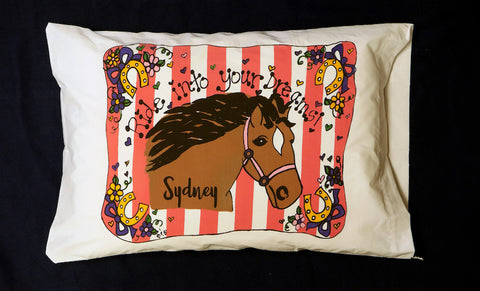 Whimsy Horse Standard Pillowcase with Personalization