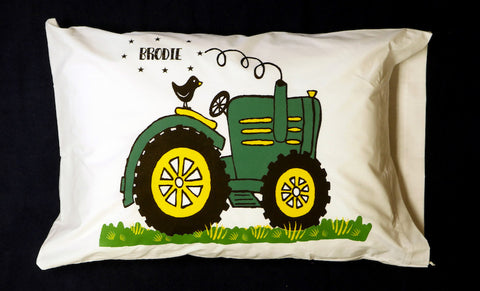 Green Tractor Standard Pillowcase with Personalization