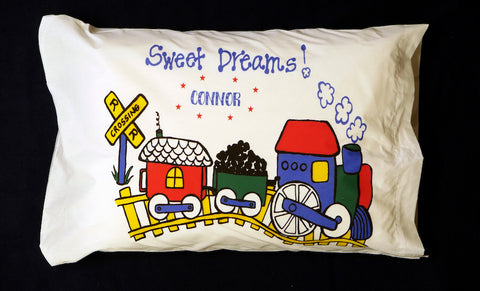 Whimsy Train Standard Pillowcase with Personalization