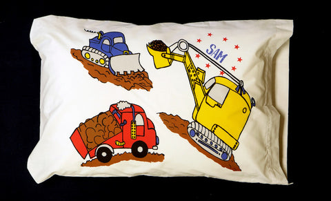 Construction Trucks Standard Pillowcase with Personalization