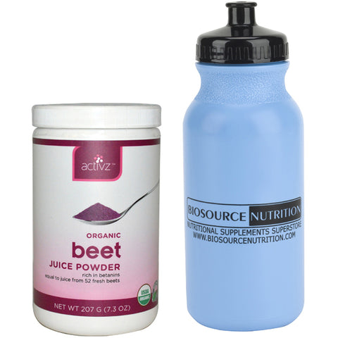 Activz Organic Beet Juice Powder 7.3 oz. and Biosource Nutriton Water Bottle 20 oz. - Biosource Nutrition