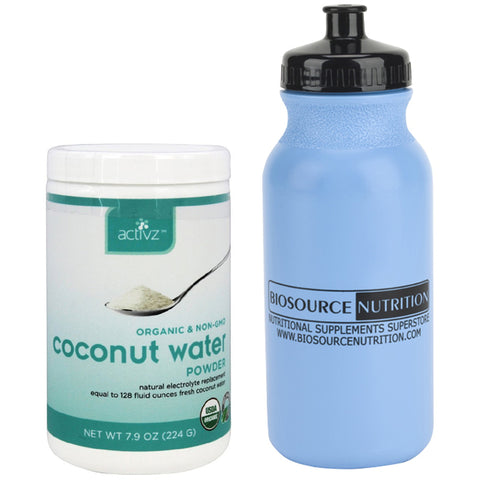 Activz Coconut Water Powder 7.9 oz (224 G) and Biosource Nutrition Water Bottle 20 oz. - Biosource Nutrition