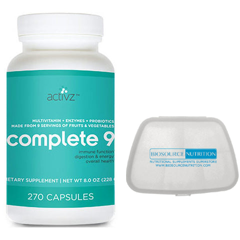 Activz Complete 9 Multivitamin 270 Capsules and Biosource Nutrition Pocket Pill Pack