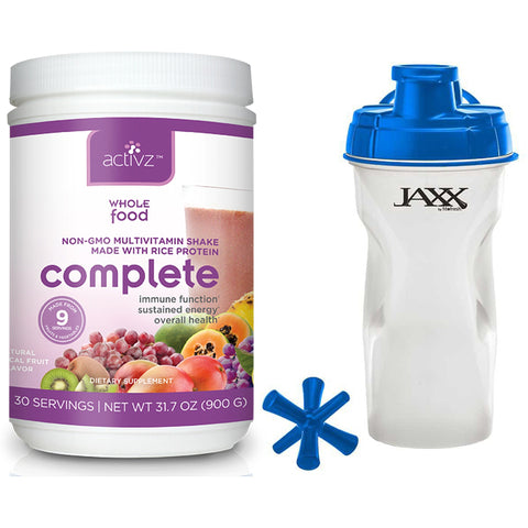 Activz Complete Whole Food Multivitamin Shake 1 lb 13.6 oz and Jaxx Shaker Blue 28 oz - Biosource Nutrition
