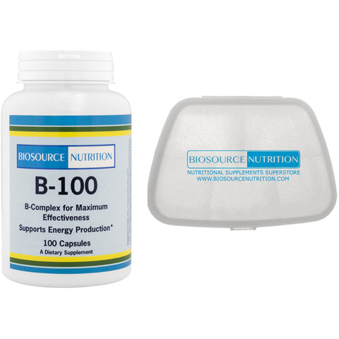 Biosource Nutrition B-100 Complex 100 Vegetarian Capsules and Pocket Pill Pack - Biosource Nutrition