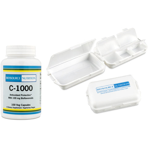 Biosource Nutrition C-1000 Capsules and Pocket Pill Box - Biosource Nutrition