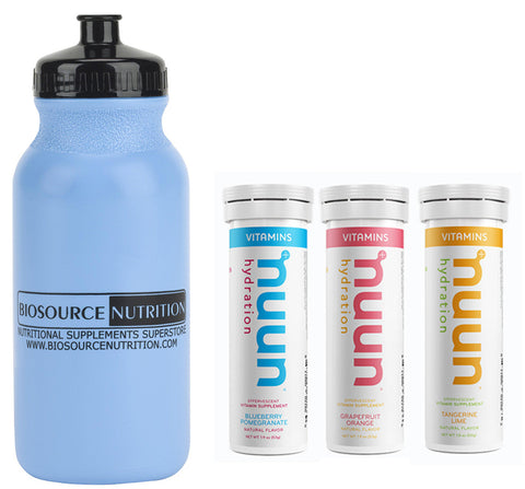 Biosource Nutrition Sport Water Bottle 20 oz. and Nuun Hydration Blueberry Pomegranate, Grapefruit Orange and Tangerine Lime - Biosource Nutrition