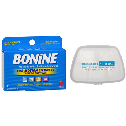 Bonine Motion Sickness 8 Chewable Tablets & Biosource Nutrition Pocket Pill Pack - Biosource Nutrition