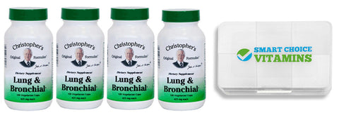 Christopher's Original Formulas Lung and Bronchial Formula (4 Pack) and Smart Choice Vitamins Pocket Pill Box - Biosource Nutrition