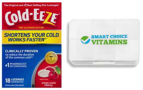 Cold-Eeze Cherry Flavor 18 Lozenges and Smart Choice Vitamins Pocket Pill Box - Biosource Nutrition