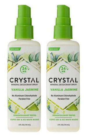 Crystal Essence Mineral Deodorant Spray Vanilla Jasmine 4 fl. oz. (118 ml) (2 Pack) - Biosource Nutrition