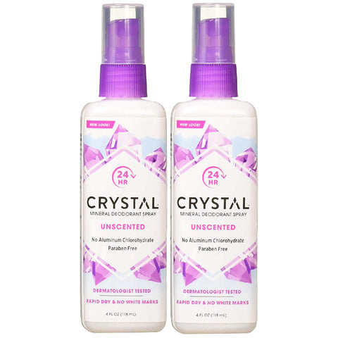 Crystal Mineral Deodorant Spray Unscented 4 fl oz. (2 Pack) - Biosource Nutrition