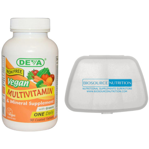 Deva Vegan Multivitamin and Mineral Supplement Iron Free 90  Coated Tablets and Biosource Nutrition Pocket Pill Pack - Biosource Nutrition